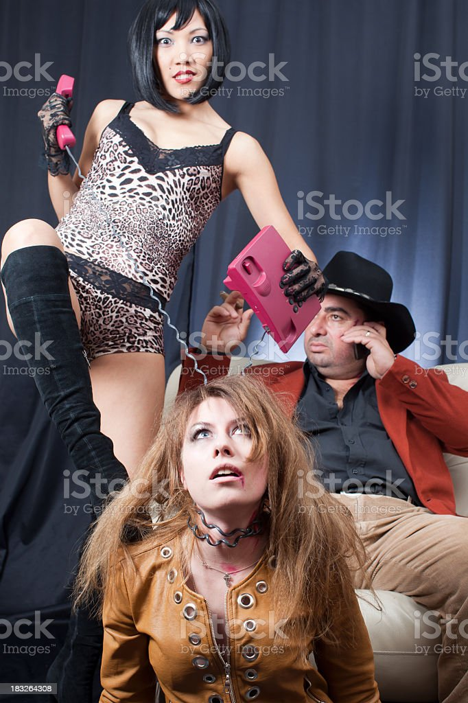 Kidnapper gangsters and victim royalty-free stock photo