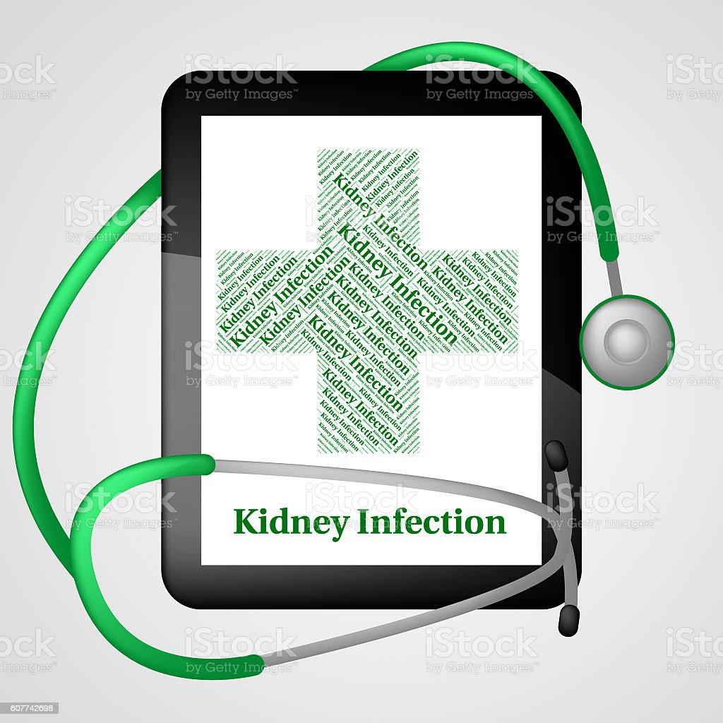 Kidney Infection Shows Ill Health And Ailment stock photo