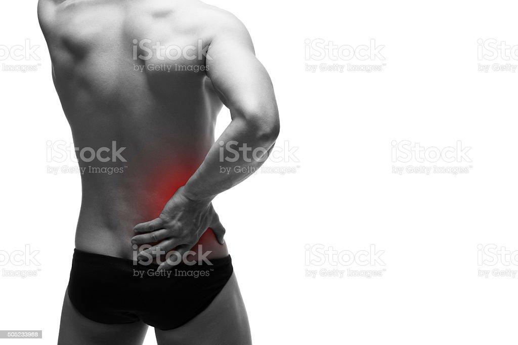 Kidney pain isolated on white background stock photo