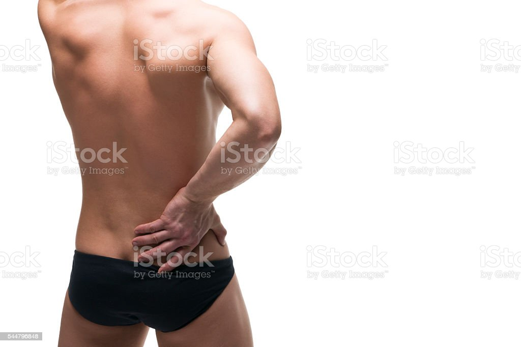 Kidney pain. Man with backache. Pain in the human body stock photo