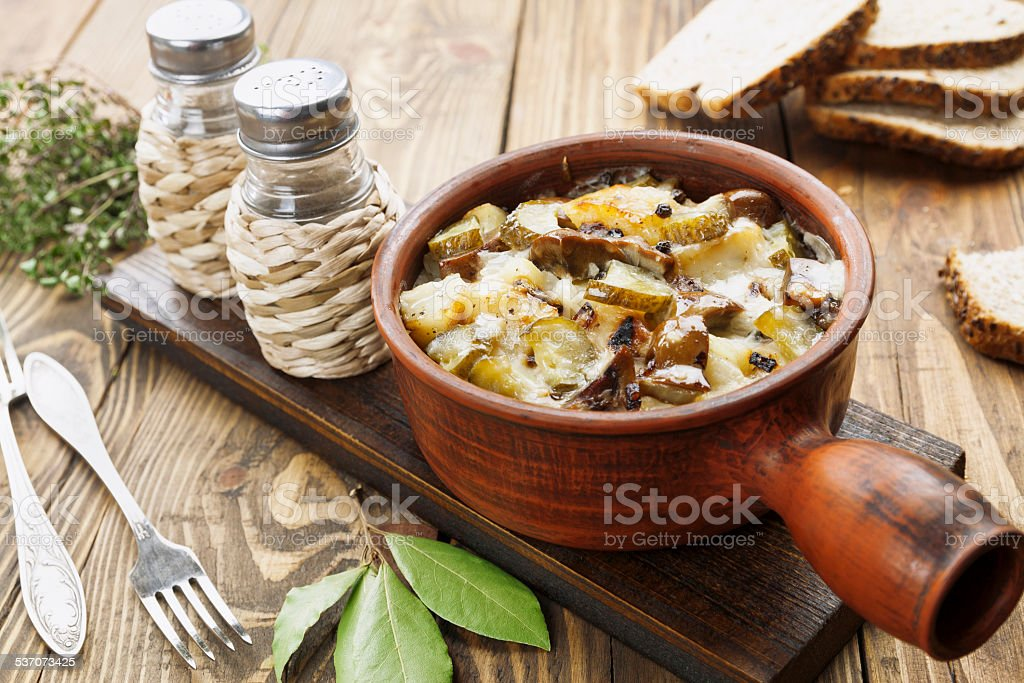 Kidney, stewed with potatoes and pickles stock photo