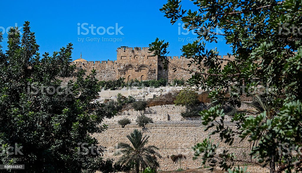 Kidron Valley looking at East Jerusalem Wall stock photo