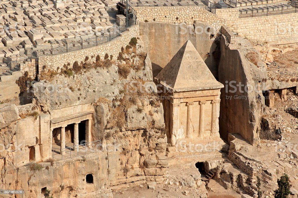 Kidron valley tombs - Israel stock photo