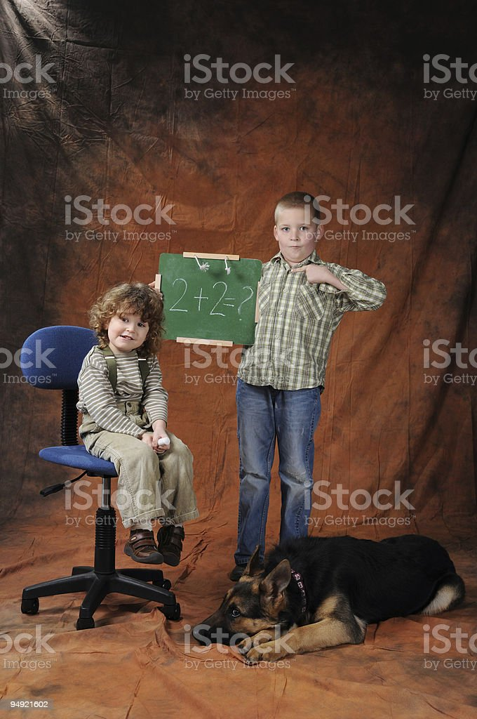 Kids and dog royalty-free stock photo