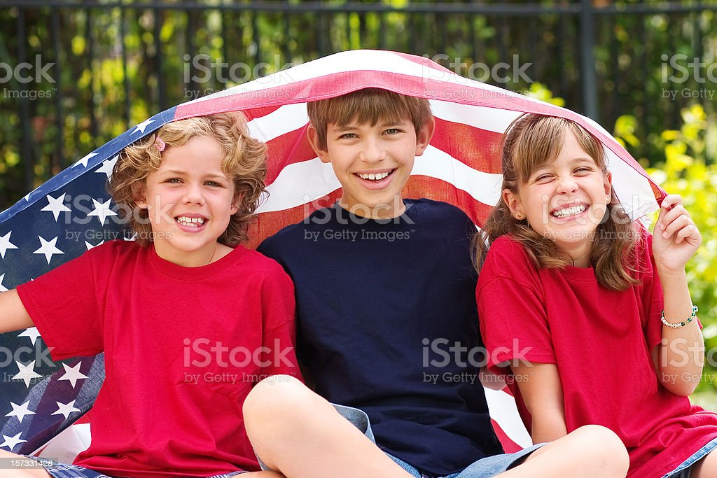 Kids and Flag royalty-free stock photo
