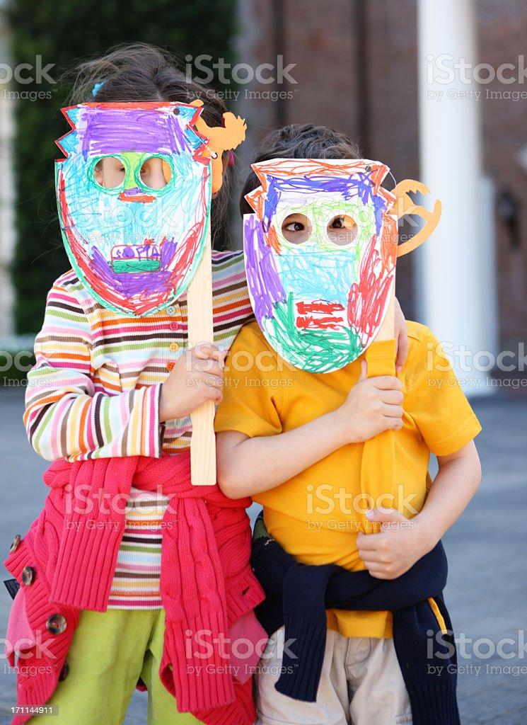 Kids and handmade craft royalty-free stock photo