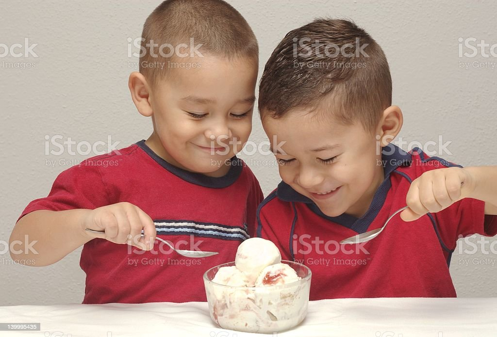 Kids and Ice Cream 4-years-old 5-years-old stock photo