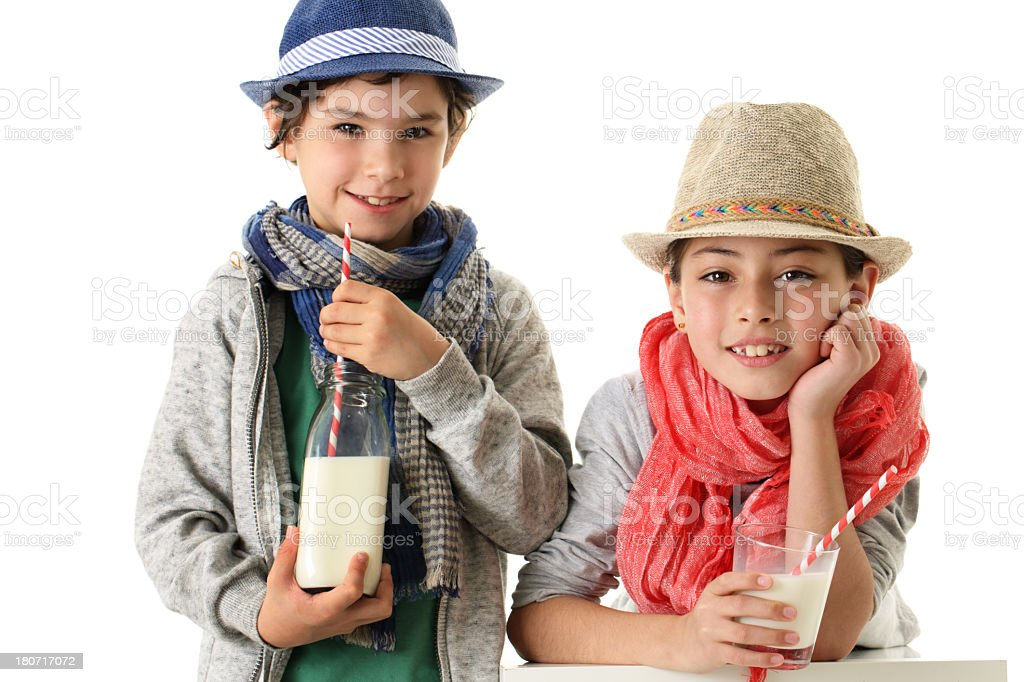 Kids and milk consumption royalty-free stock photo