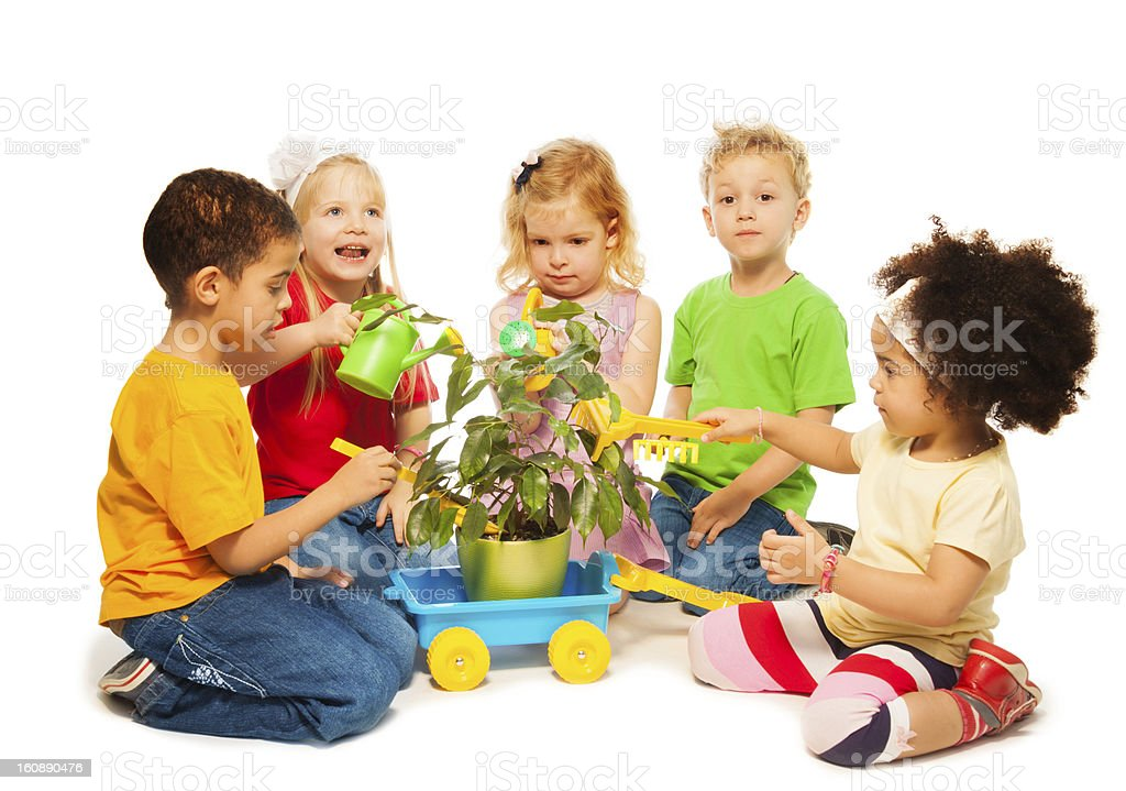 Kids and plant royalty-free stock photo