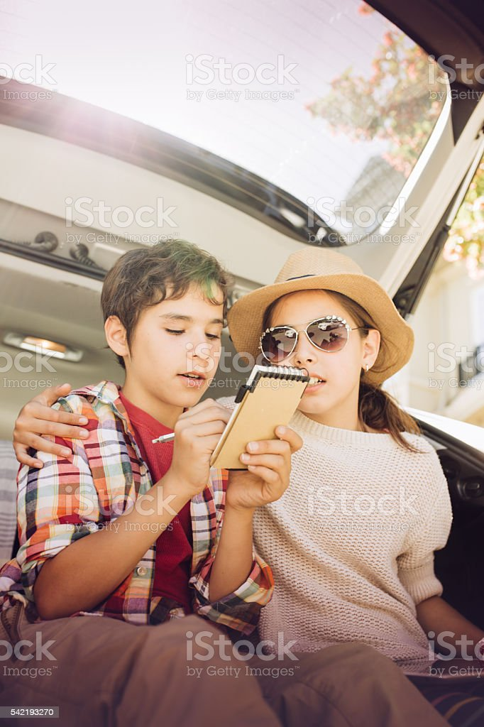 Kids and summer vacations stock photo