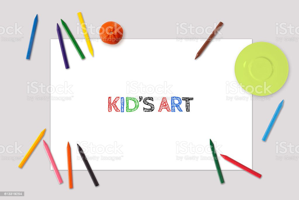 Kid's Art drawing Mockup stock photo
