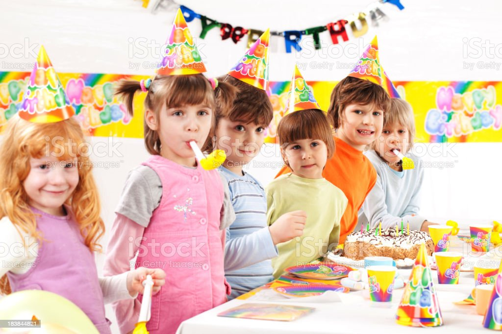 Kids at a birthday party. royalty-free stock photo