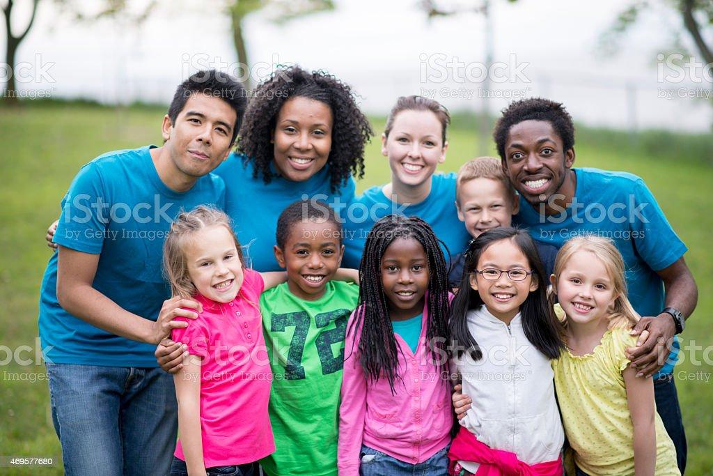 Kids at Camp stock photo