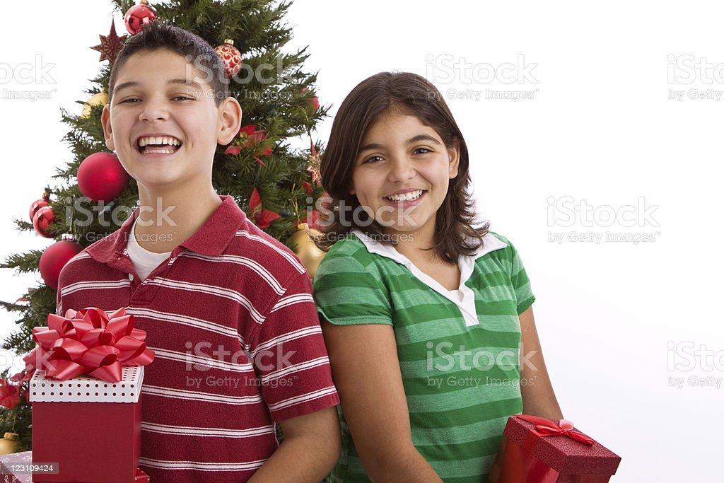 Kids at Christmas royalty-free stock photo
