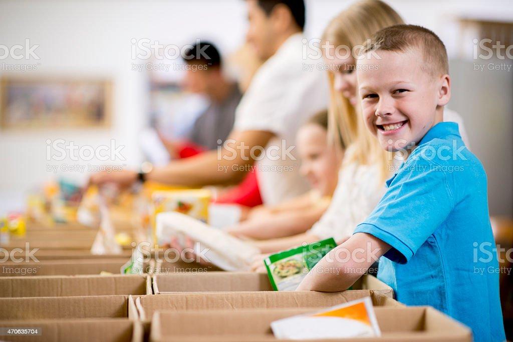 Kids at Food Bank stock photo