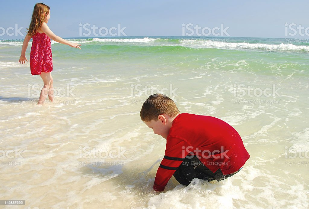 Kids at the Shore royalty-free stock photo