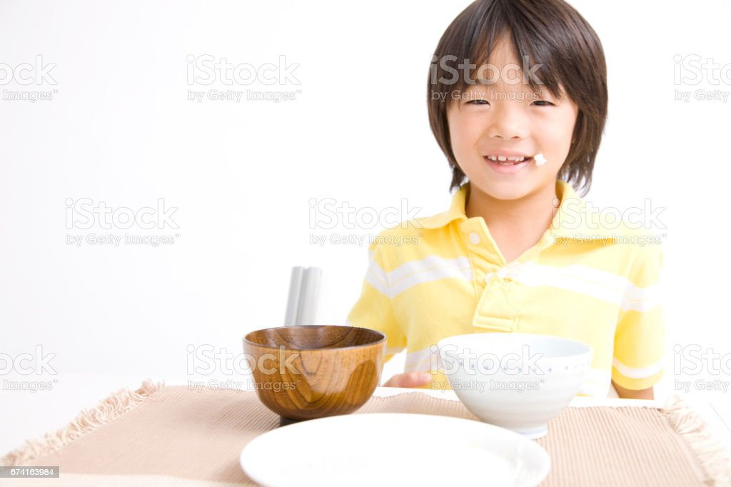 Kids ate a hearty dinner stock photo