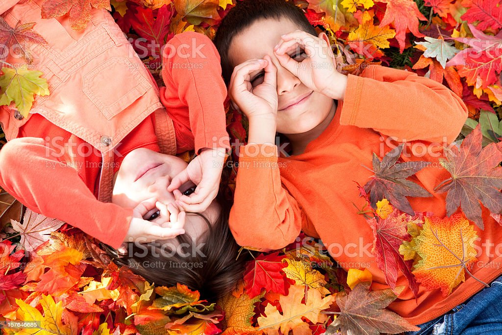 kids autumn portrait royalty-free stock photo