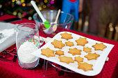 kids baking christmas cookies
