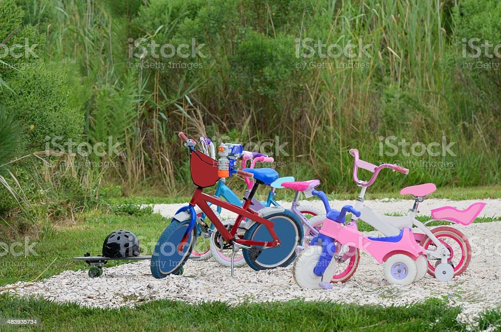 Kids Bikes At The Beach stock photo