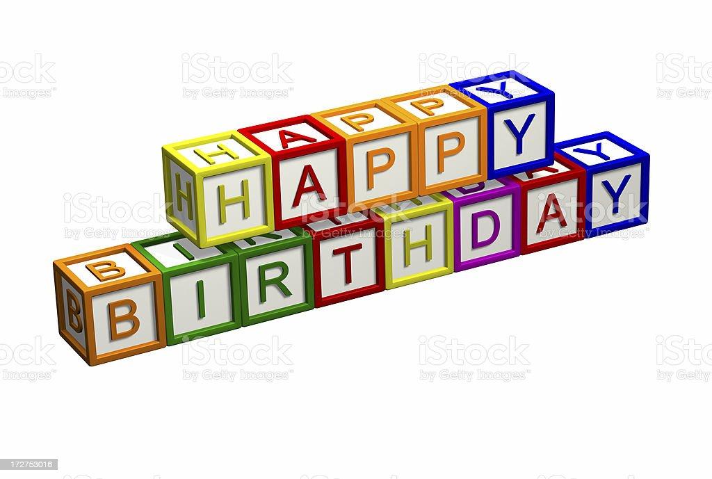 Kids Blocks - Happy Birthday royalty-free stock photo