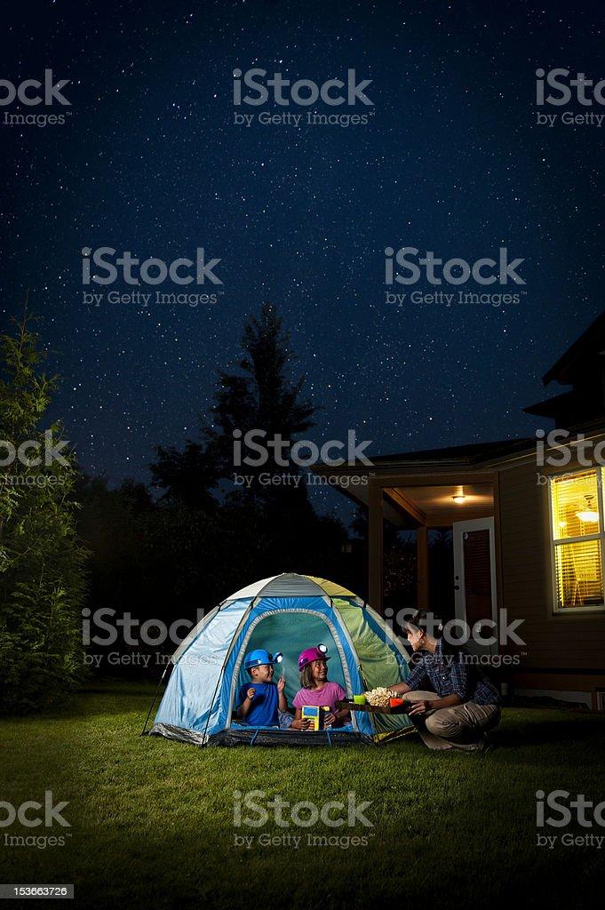 Kids Camping in Backyard stock photo