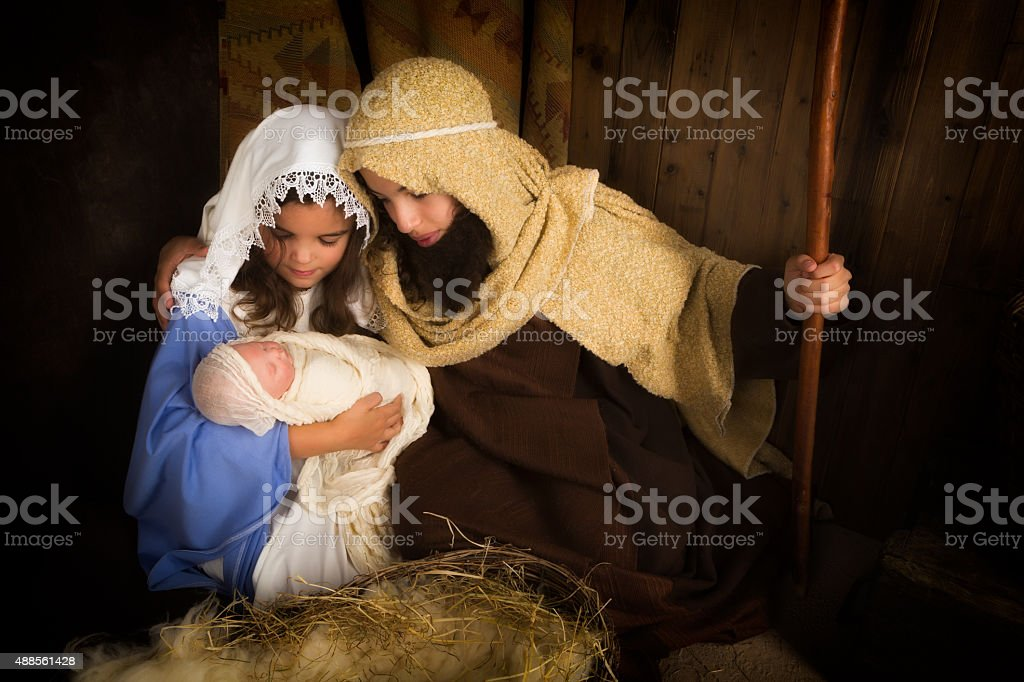 Kids christmas play stock photo