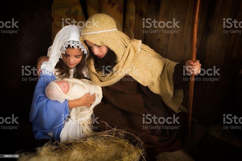 Kids christmas play stock photo