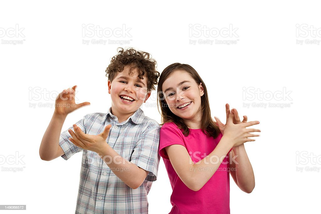 Kids clapping isolated on white background royalty-free stock photo