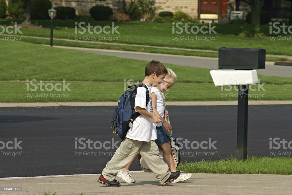Kids Coming Home From School royalty-free stock photo