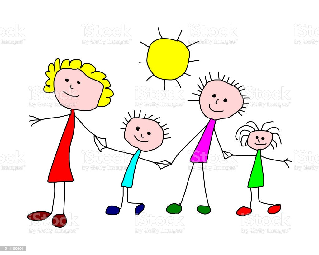 Kids drawing -  happy family stock photo