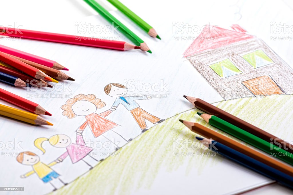 Kids drawing with colour pencils