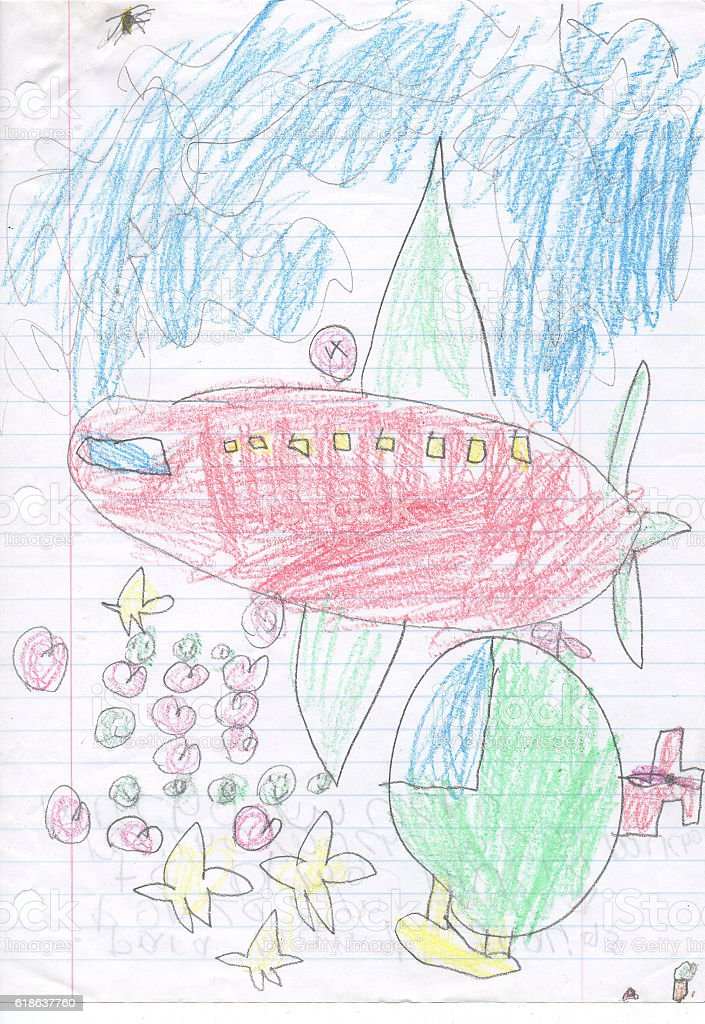 Kids drawing sketch of a plane and train vector art illustration