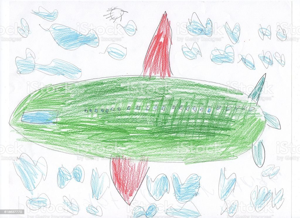 Kids drawing sketch of a plane and train stock photo