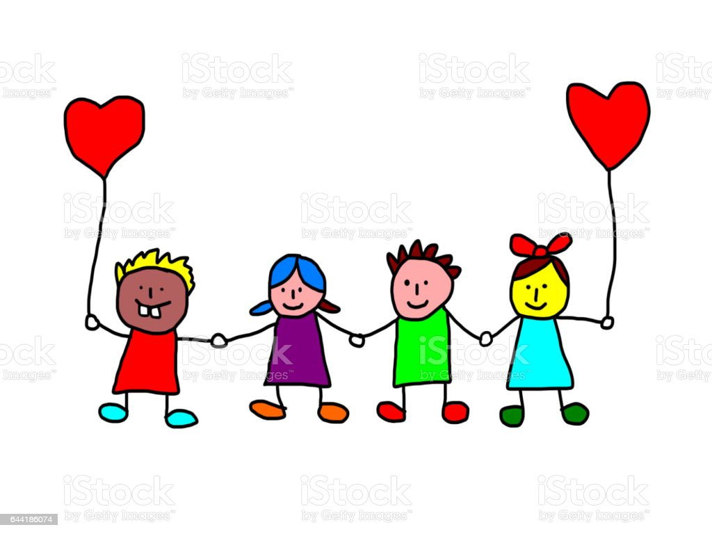 Kids drawing -  valentines day stock photo