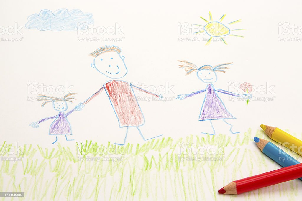 KId's drawing with coloured pencils stock photo