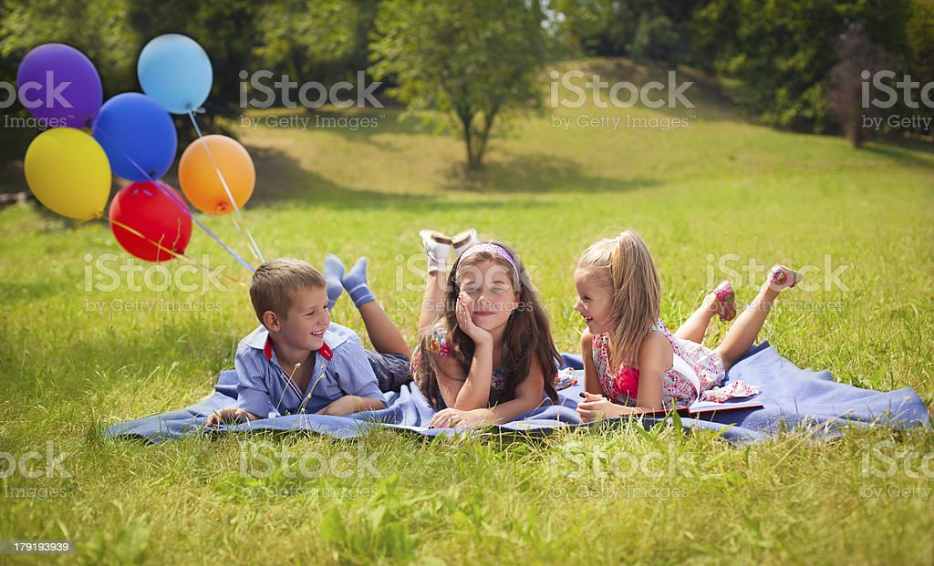 Kids drawing with smile royalty-free stock photo