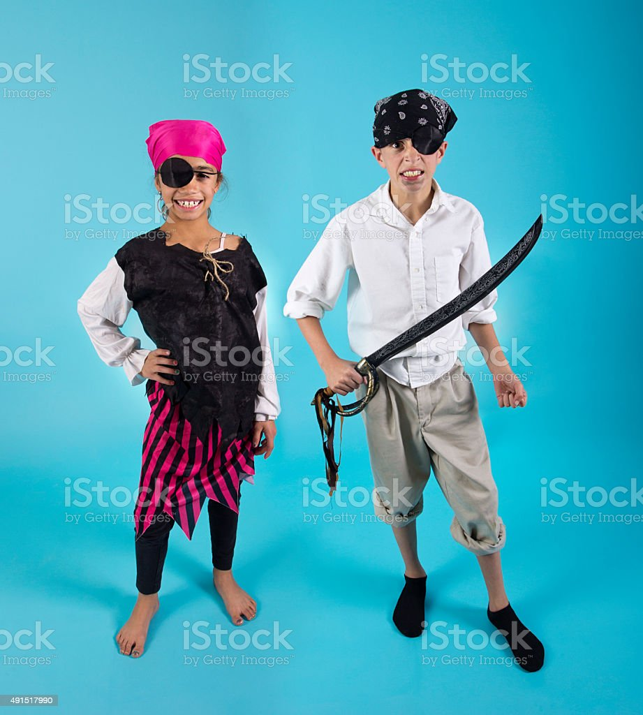 Kids dressed in Pirate Costumes stock photo