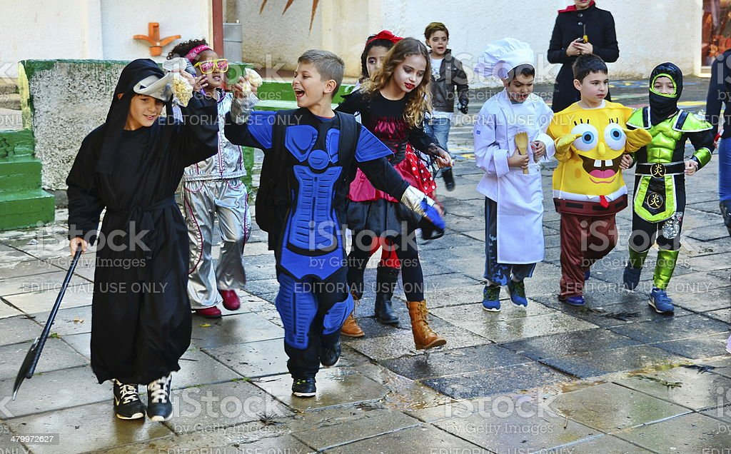 Kids dressed up for Purim / Halloween stock photo