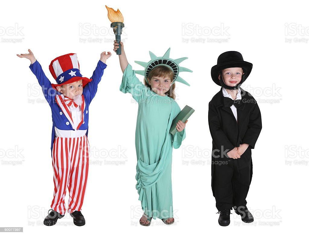 Kids dressed up like Patriotic characters stock photo