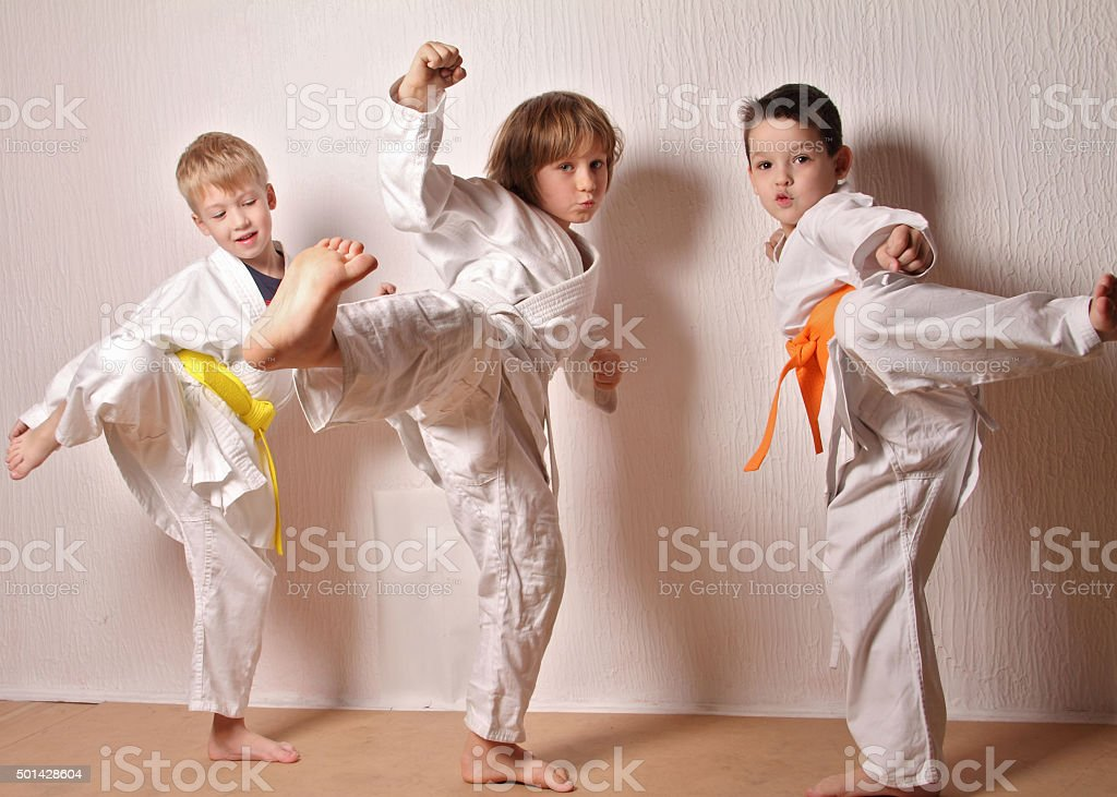 Kids during karate training. Martial arts.Sport, active lifestyle concept stock photo