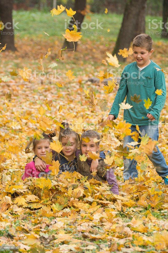 Kids enjoying at park in autumn stock photo