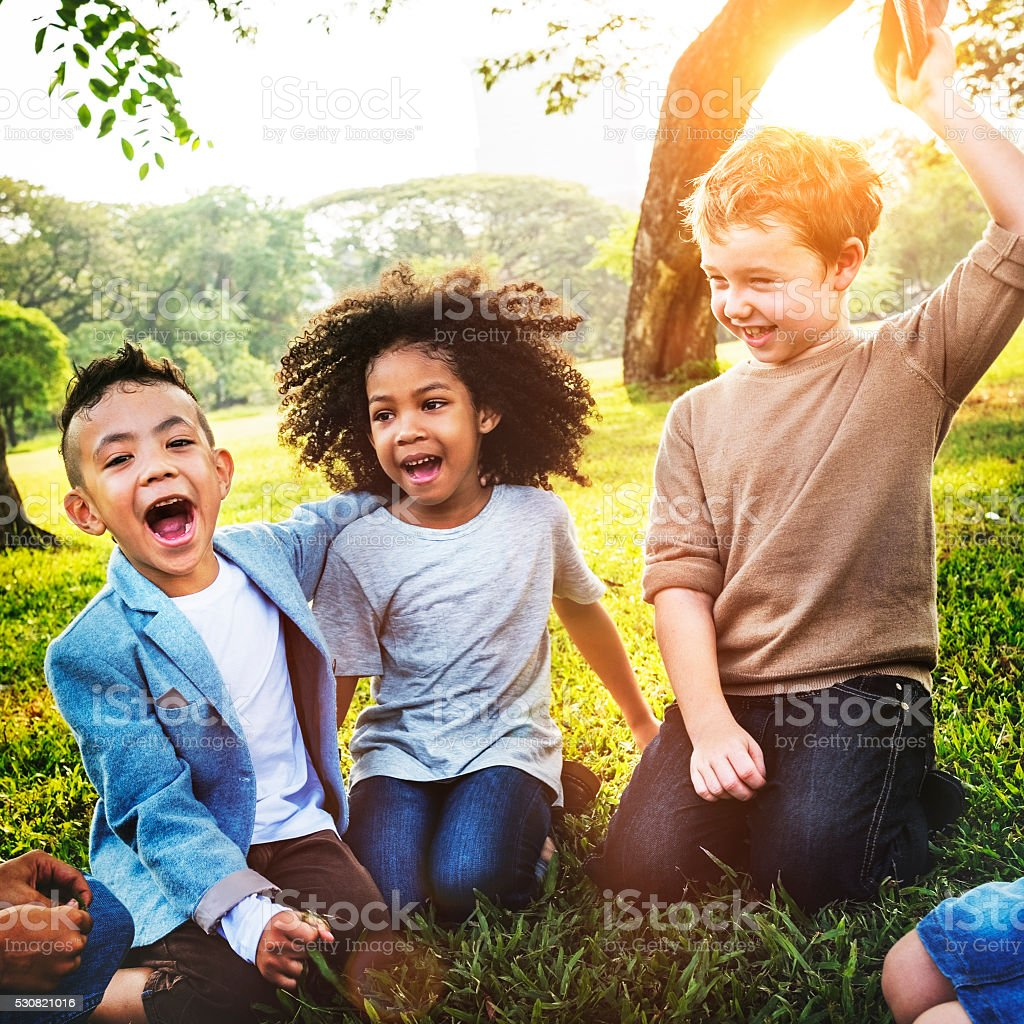 Kids Fun Playful Happiness Retro Togetherness Friendship Concept stock photo