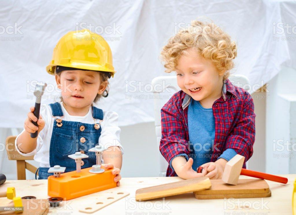 Kids future engineers stock photo