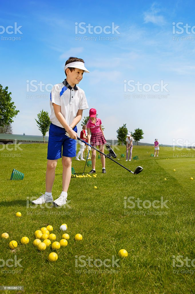 Kids golf school stock photo