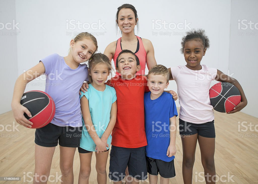 Kids gym class stock photo