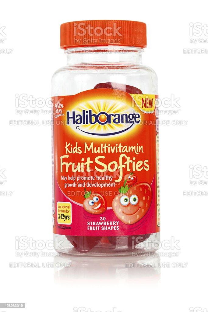 Kids Haliborange Multivitamin Fruit Softies chewable vitamins stock photo