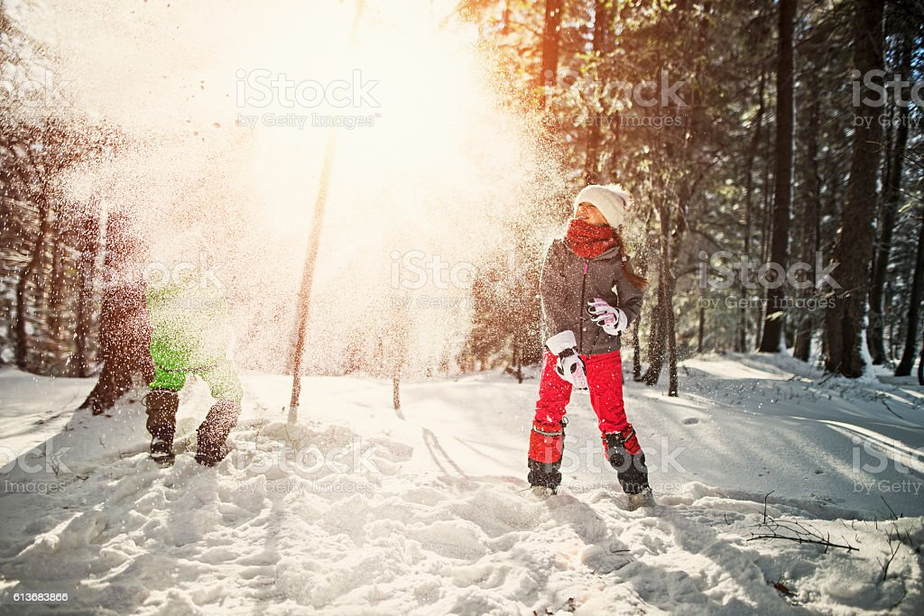 Kids having a snowball fight in forest stock photo