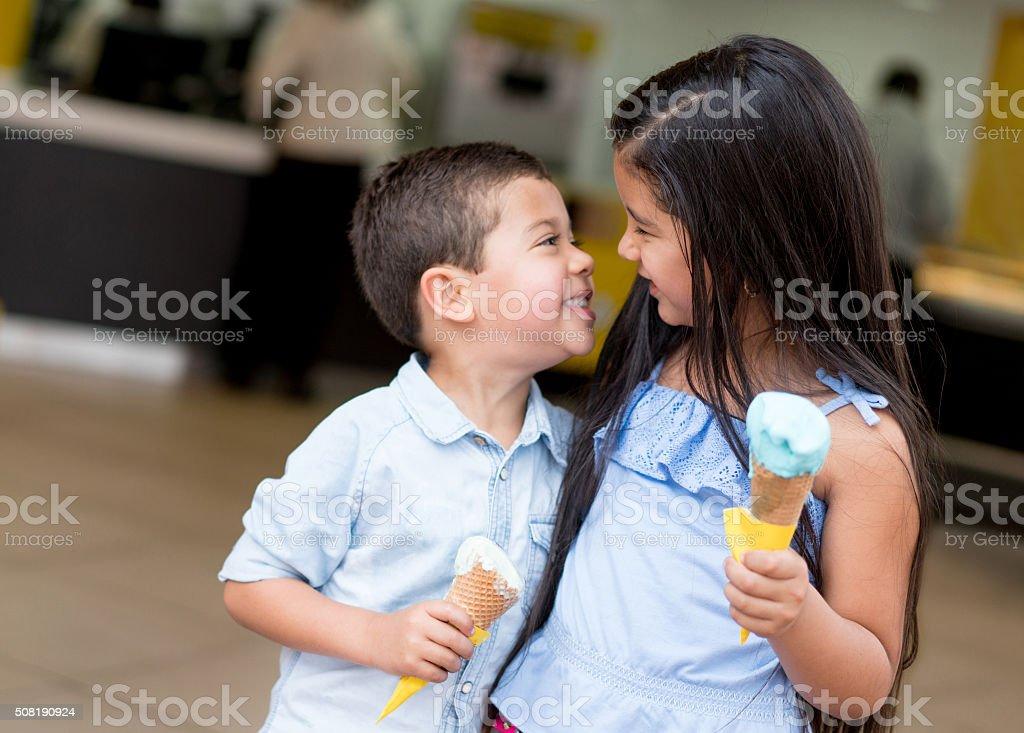 Kids having an ice cream stock photo