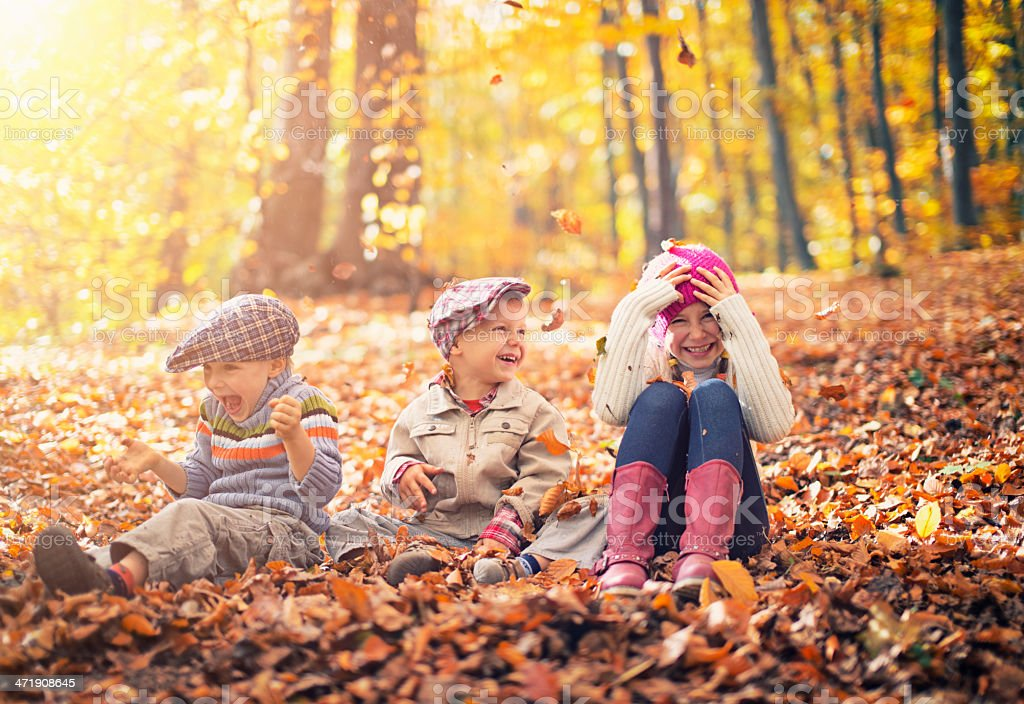 Kids having fun in autumn forest royalty-free stock photo